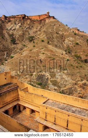 View Of Jaigarh Fort On The Top Of Aravalli Hills From Amber Fort, Rajasthan, India