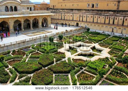 Charbagh Garden In The Third Courtyard Of Amber Fort, Rajasthan, India