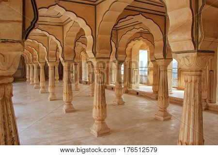 Sattais Katcheri Hall In Amber Fort Near Jaipur, Rajasthan, India