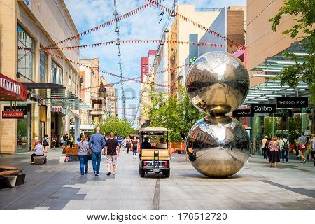 Adelaide Australia - November 11 2016: Rundle Mall and famous balls looking towards west in Adelaide CBD on a day. Rundle Mall is the premier shopping area of South Australia