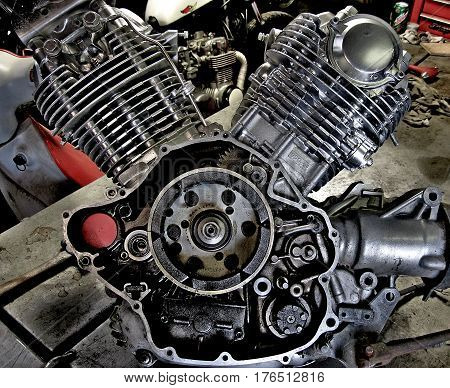 A V twin motorcycle motor internal photo