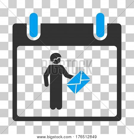 Postman Calendar Day icon. Vector illustration style is flat iconic bicolor symbol, blue and gray colors, transparent background. Designed for web and software interfaces.