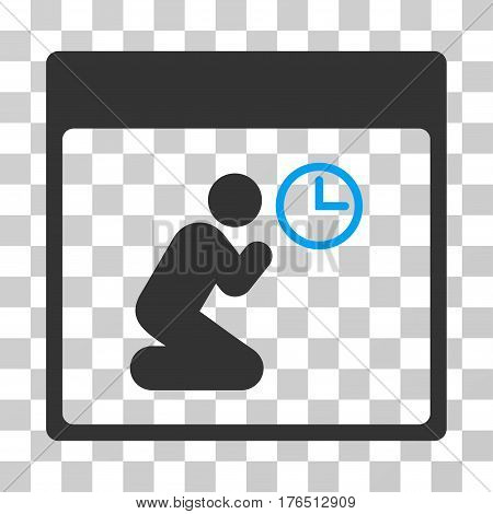 Pray Clock Calendar Page icon. Vector illustration style is flat iconic bicolor symbol, blue and gray colors, transparent background. Designed for web and software interfaces.