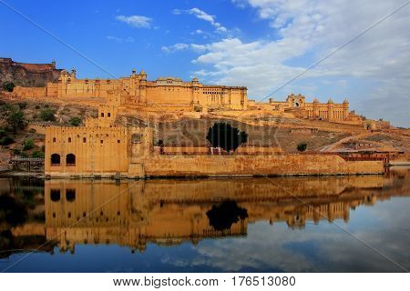Amber Fort Reflected In Maota Lake Near Jaipur, Rajasthan, India.