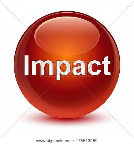 Impact Glassy Brown Round Button