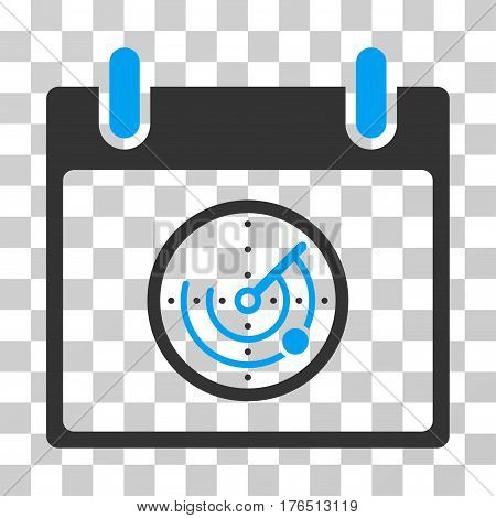 Radar Calendar Day icon. Vector illustration style is flat iconic bicolor symbol, blue and gray colors, transparent background. Designed for web and software interfaces.