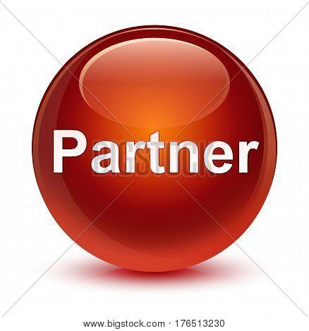 Partner Glassy Brown Round Button
