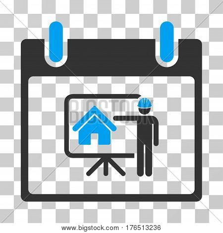 Realty Developer Calendar Day icon. Vector illustration style is flat iconic bicolor symbol, blue and gray colors, transparent background. Designed for web and software interfaces.