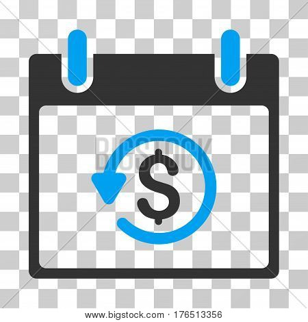 Refund Calendar Day icon. Vector illustration style is flat iconic bicolor symbol, blue and gray colors, transparent background. Designed for web and software interfaces.