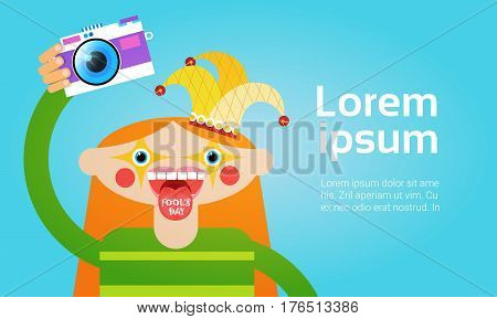 Cartoon Girl Holding Photo Camera Photography Blogger Flat Vector Illustration