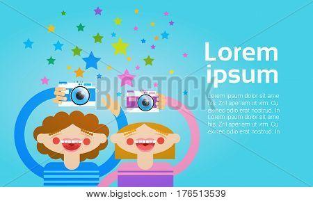 Two Cartoon Girl Holding Photo Camera Photography Blogger Flat Vector Illustration