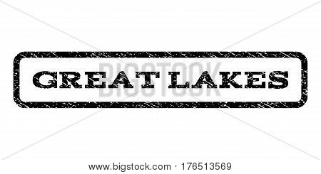Great Lakes watermark stamp. Text tag inside rounded rectangle with grunge design style. Rubber seal stamp with scratched texture. Vector black ink imprint on a white background.