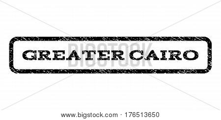 Greater Cairo watermark stamp. Text caption inside rounded rectangle with grunge design style. Rubber seal stamp with dust texture. Vector black ink imprint on a white background.