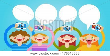 Cartoon People Group Holding Photo Camera Photography Blogger Flat Vector Illustration