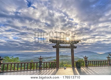 Lam Dong, Vietnam - February 17th, 2017: The magical sunrays of dawn on the yard 'Linh Qui Phap An' pagoda, Loc Thanh near Bao Loc town, Lam Dong province, Vietnam