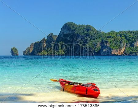 Colorful Kayak At Ao Yongkasem Beach On Phi Phi Don Island, Krabi Province, Thailand