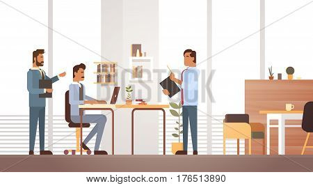 Business Man Group Meeting Discussing Office Desk Businesspeople Working Flat Vector Illustration