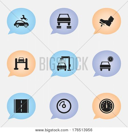Set Of 9 Editable Vehicle Icons. Includes Symbols Such As Treadle, Speed Control, Automotive Fix And More. Can Be Used For Web, Mobile, UI And Infographic Design.
