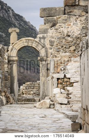 Ancient marble arch in the ancient city of Ephesus Selcuk Turkey