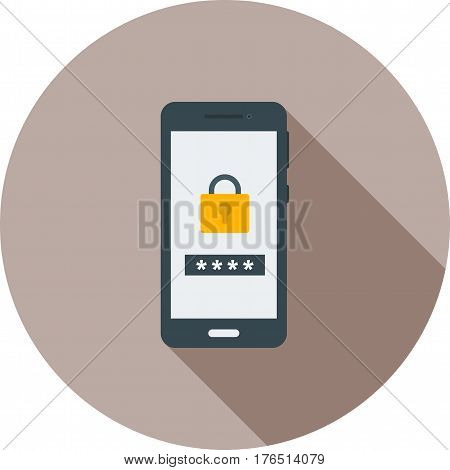 Passcode, security, lock icon vector image. Can also be used for smartphone. Suitable for mobile apps, web apps and print media.
