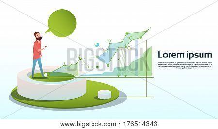 Businessman Visualization Analysis Finance Graph Financial Business Chart Copy Space Flat Vector Illustration