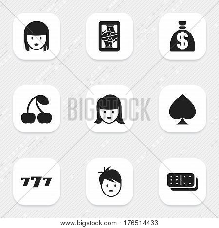 Set Of 9 Editable Gambling Icons. Includes Symbols Such As Game Card, Woman Face, Moneybag And More. Can Be Used For Web, Mobile, UI And Infographic Design.