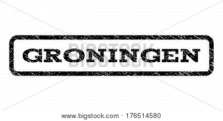 Groningen watermark stamp. Text tag inside rounded rectangle with grunge design style. Rubber seal stamp with dust texture. Vector black ink imprint on a white background.