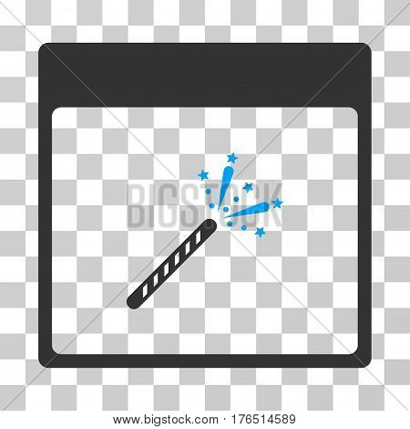 Sparkler Firecracker Calendar Page icon. Vector illustration style is flat iconic bicolor symbol, blue and gray colors, transparent background. Designed for web and software interfaces.