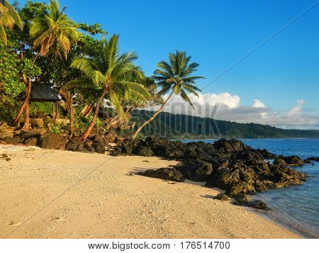 Sandy Beach In Lavena Village On Taveuni Island, Fiji