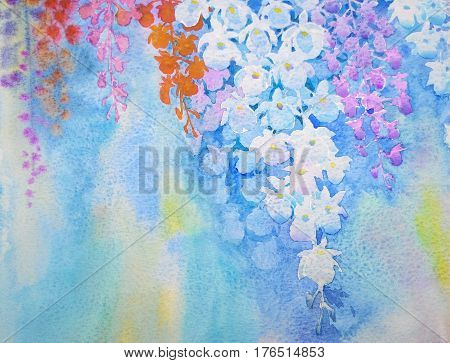 Watercolor flowers painting original realistic colorful bunch of orchid flowers in sky and abstract background. Hand Painted