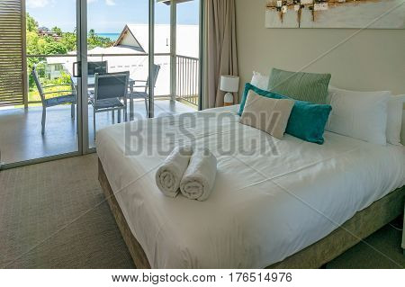 Airlie Beach, Australia - February 04, 2017: Airlie Central Apartments room. Airlie Beach is popular holiday destination for Great Barrier Reef and tropical vacation spot