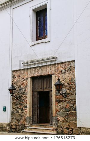 Doorway Of Basilica Of The Holy Sacrament In Colonia Del Sacramento, Uruguay