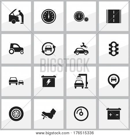 Set Of 16 Editable Car Icons. Includes Symbols Such As Stoplight, Highway, Speed Control And More. Can Be Used For Web, Mobile, UI And Infographic Design.