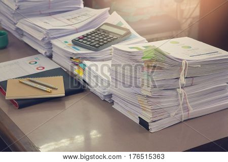 Business Concept, Pile Of Unfinished Documents On Office Desk, Stack Of Business Paper,vintage Effec