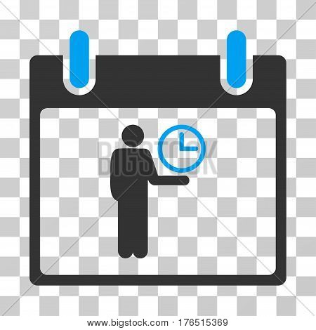 Time Manager Calendar Day icon. Vector illustration style is flat iconic bicolor symbol, blue and gray colors, transparent background. Designed for web and software interfaces.