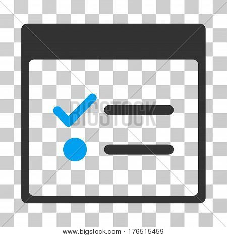 Todo Items Calendar Page icon. Vector illustration style is flat iconic bicolor symbol, blue and gray colors, transparent background. Designed for web and software interfaces.