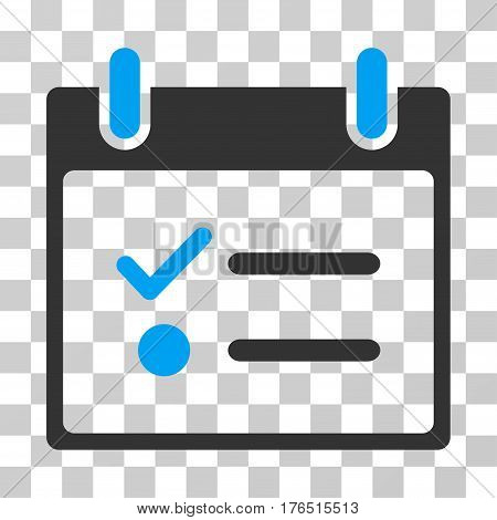 Todo List Calendar Day icon. Vector illustration style is flat iconic bicolor symbol, blue and gray colors, transparent background. Designed for web and software interfaces.