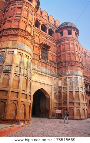 Amar Singh Gate in Agra Fort Uttar Pradesh India. The gate was originally known as Akbar Darwaza and was reserved for Mughal emperor Akbar and his personal entourage