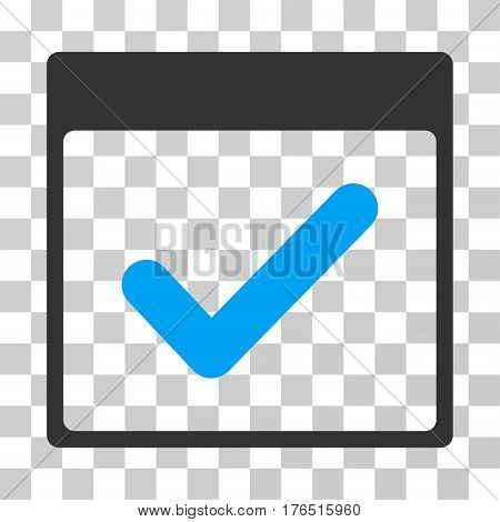 Valid Day Calendar Page icon. Vector illustration style is flat iconic bicolor symbol, blue and gray colors, transparent background. Designed for web and software interfaces.