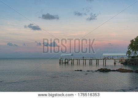 Airlie Beach, Australia - February 4, 2017: Coral sea Resort jetty, berth in Abel Point Marina at sunset. Airlie Beach, Whitsundays, Australia