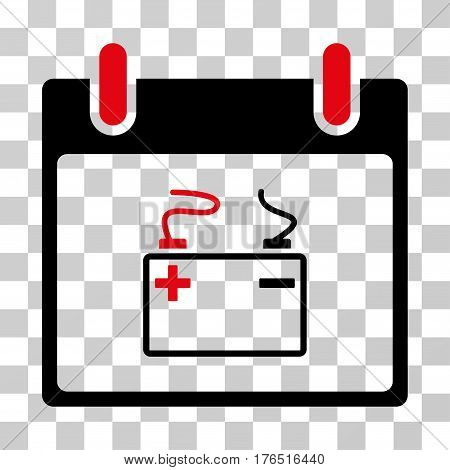 Accumulator Calendar Day icon. Vector illustration style is flat iconic bicolor symbol, intensive red and black colors, transparent background. Designed for web and software interfaces.