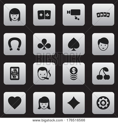 Set Of 16 Editable Business Icons. Includes Symbols Such As Black Heart, Woman Face, Stacked Money And More. Can Be Used For Web, Mobile, UI And Infographic Design.