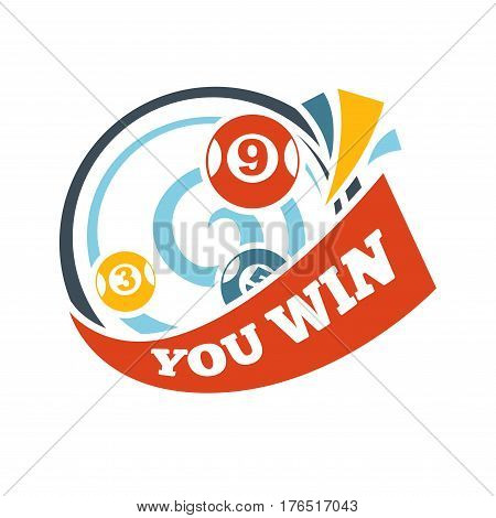 Bingo lotto lottery logo template. Win lucky numbers on balls vector isolated icon