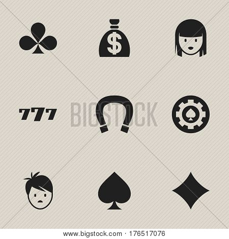Set Of 9 Editable Gambling Icons. Includes Symbols Such As Lucky Seven, Black Heart, Game Card And More. Can Be Used For Web, Mobile, UI And Infographic Design.