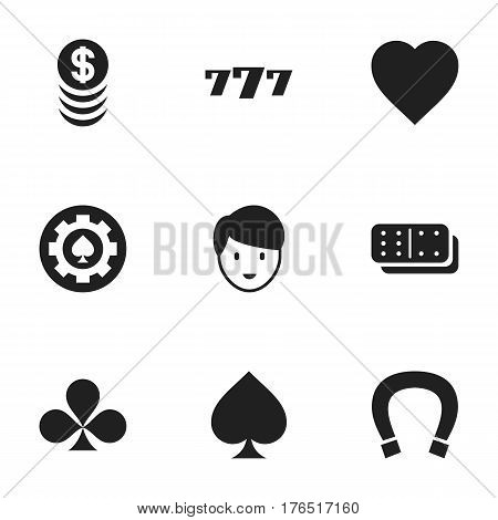Set Of 9 Editable Excitement Icons. Includes Symbols Such As Bones Game, Stacked Money, Shamrock And More. Can Be Used For Web, Mobile, UI And Infographic Design.