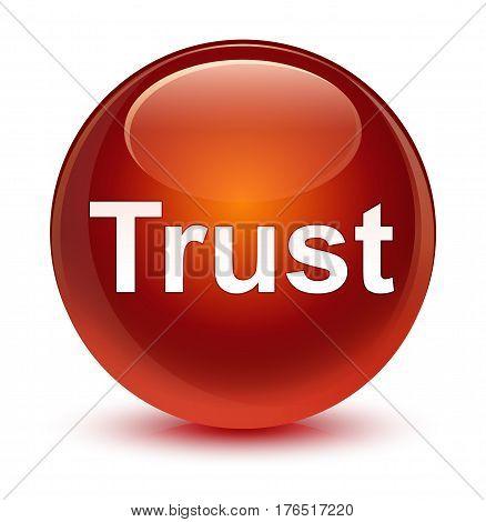 Trust Glassy Brown Round Button