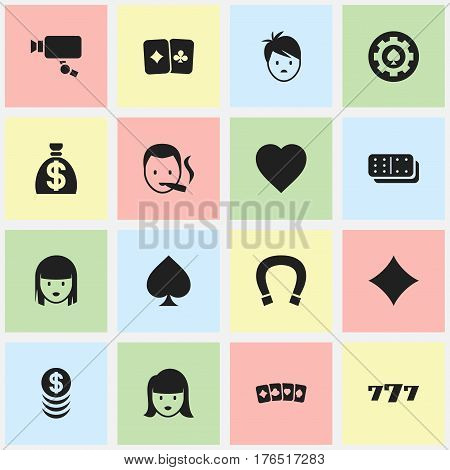 Set Of 16 Editable Game Icons. Includes Symbols Such As Lucky Seven, Rhombus, Tracking Cam And More. Can Be Used For Web, Mobile, UI And Infographic Design.