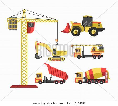 Building and construction machines or house build machinery equipment. Crane winch, concrete mixer, brick truck or block loader tractor, tipper and bulldozer. Vector isolated flat icons set