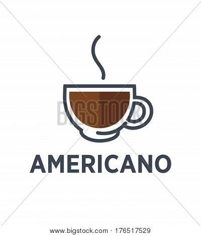 Coffee americano logo for cafe or cafeteria icon template. Vector hot drink with steam in glass cup for fast food, coffeeshop or coffeehouse takeaway menu design element