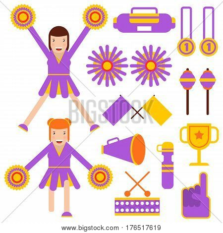 Cheerleading elements and cheerleader girls performance garment accessories. Vector flat icons of flags, pom-poms, thumb up sign or fan foam finger, champion medals and cup award and horn